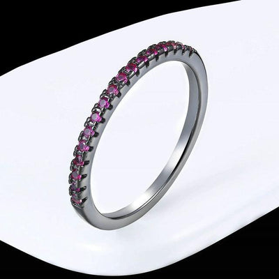 Mini CZ Wedding Ring 7.25 / BlackGold Red - Wedding & Engagement | MegaMallExpress.com