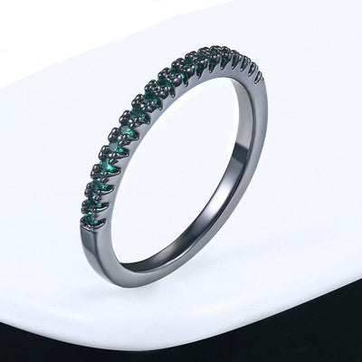 Mini CZ Wedding Ring 6.5 / BlackGold Green - Wedding & Engagement | MegaMallExpress.com