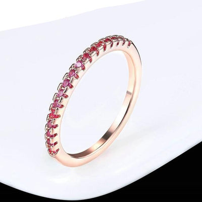 Mini CZ Wedding Ring 7.25 / RoseGold Red - Wedding & Engagement | MegaMallExpress.com