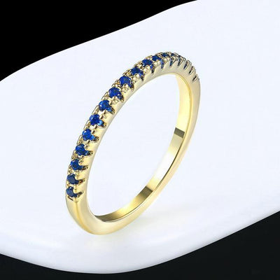 Mini CZ Wedding Ring 7.25 / YellowGold Blue - Wedding & Engagement | MegaMallExpress.com