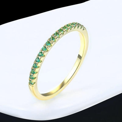 Mini CZ Wedding Ring 6.5 / YellowGold Green - Wedding & Engagement | MegaMallExpress.com