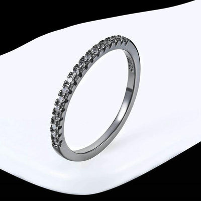 Mini CZ Wedding Ring 6.5 / BlackGold Clear - Wedding & Engagement | MegaMallExpress.com