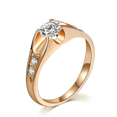 Austrian Crystal Wedding Ring 9 / RoseGold Clear - Wedding & Engagement | MegaMallExpress.com
