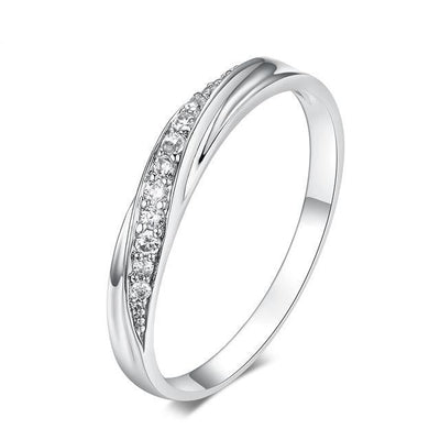 Fashion Jewelry Wedding Ring White Gold Clear / 9 - Wedding & Engagement | MegaMallExpress.com