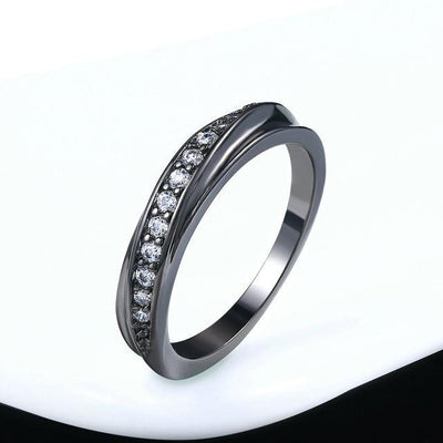 Fashion Jewelry Wedding Ring Black Gold Clear / 9 - Wedding & Engagement | MegaMallExpress.com
