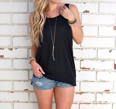 Women Sleeveless Tank Top Knotted in the Back Black / L - Women Tops & Tees | MegaMallExpress.com