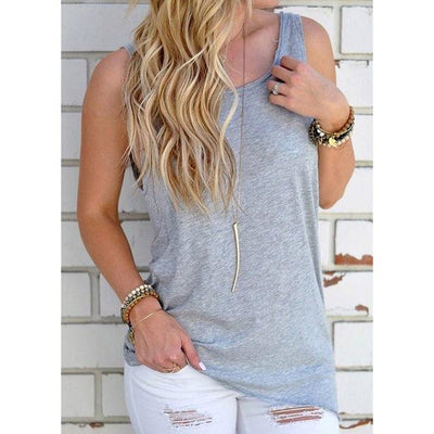 Women Sleeveless Tank Top Knotted in the Back Light Gray / M - Women Tops & Tees | MegaMallExpress.com