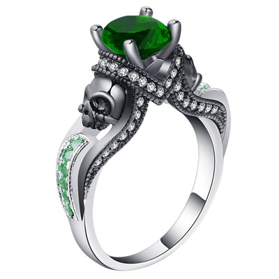 Skull Jewelry Ring 9 / green - Casual Rings | MegaMallExpress.com