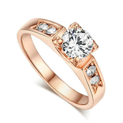 Solitaire Rings 9 / rose gold clear - Wedding & Engagement | MegaMallExpress.com