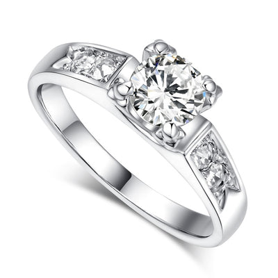 Solitaire Rings 9 / white gold clear - Wedding & Engagement | MegaMallExpress.com