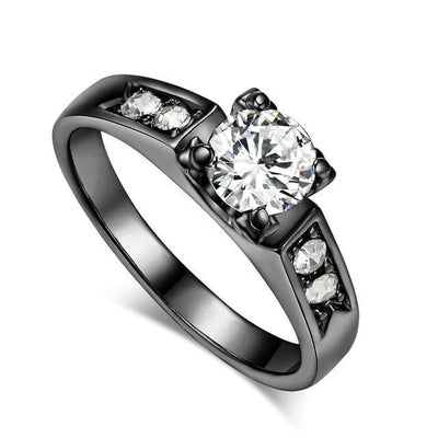 Solitaire Rings 9 / black gold clear - Wedding & Engagement | MegaMallExpress.com
