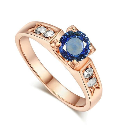 Solitaire Rings 9 / rose gold blue - Wedding & Engagement | MegaMallExpress.com