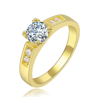 Solitaire Rings 9 / yellow gold clear - Wedding & Engagement | MegaMallExpress.com
