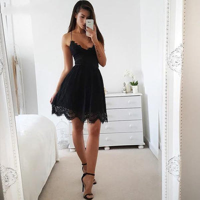Women Backless and Sleeveless Mini Dress Black / S - Women Dresses | MegaMallExpress.com
