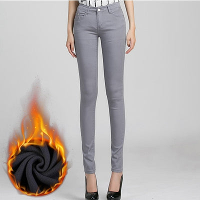 Women Candy Color Jeans Gray Velvet / 26 - Women Bottoms | MegaMallExpress.com