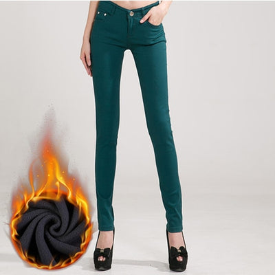 Women Candy Color Jeans DarkGreen Velvet / 31 - Women Bottoms | MegaMallExpress.com