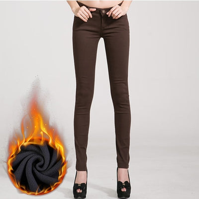 Women Candy Color Jeans Coffee Velvet / 31 - Women Bottoms | MegaMallExpress.com