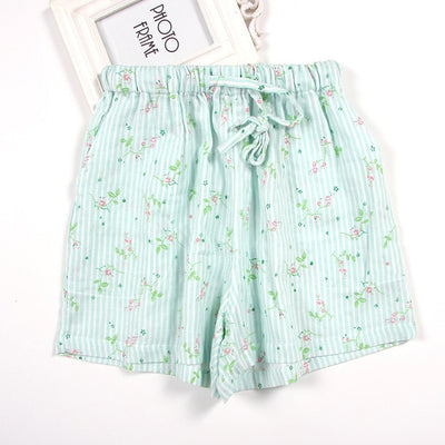 Women Cotton Shorts Pajama stripe green / M - Women Intimates | MegaMallExpress.com