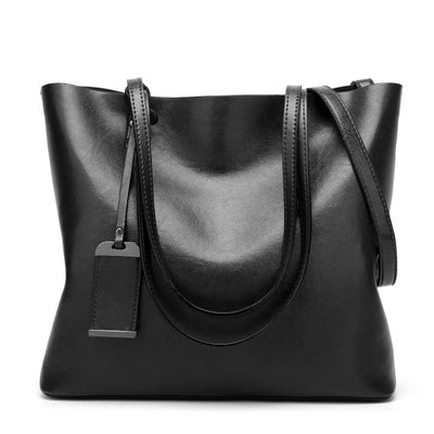 Vintage PU Leather Large Capacity Women's Bag Black / 32 x 12 x 29 cm - Women Handbags & Purses | MegaMallExpress.com