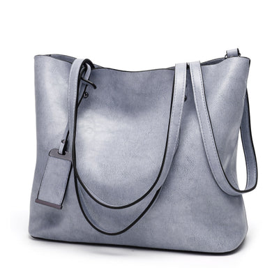Vintage PU Leather Large Capacity Women's Bag Light blue / 32 x 12 x 29 cm - Women Handbags & Purses | MegaMallExpress.com