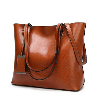 Vintage PU Leather Large Capacity Women's Bag Brown / 32 x 12 x 29 cm - Women Handbags & Purses | MegaMallExpress.com