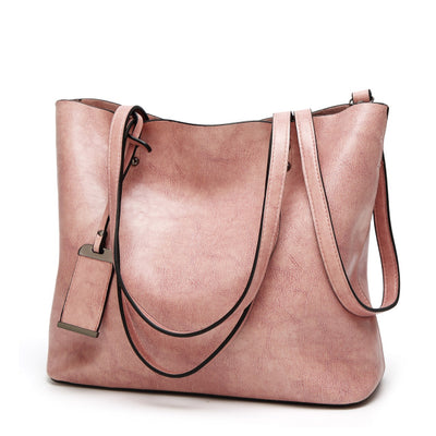 Vintage PU Leather Large Capacity Women's Bag Pink / 32 x 12 x 29 cm - Women Handbags & Purses | MegaMallExpress.com