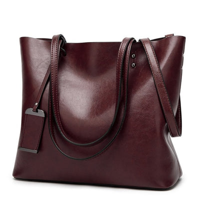 Vintage PU Leather Large Capacity Women's Bag Burgundy / 32 x 12 x 29 cm - Women Handbags & Purses | MegaMallExpress.com