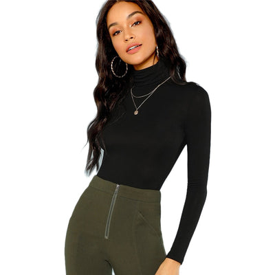 Black Turtleneck Slim Fit Black / XL - Women Sweaters | MegaMallExpress.com
