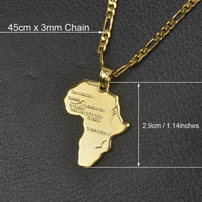 Africa Map Necklace 45cm by 3mm Chain - Necklaces & Pendants | MegaMallExpress.com