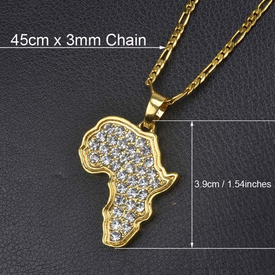 Africa Map Necklace 45cm by 3mm Chain 2 - Necklaces & Pendants | MegaMallExpress.com