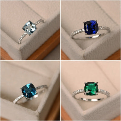 Square Sky Blue Stone Ring  - Wedding & Engagement | MegaMallExpress.com