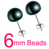 Women Natural Pearl Earrings Black 6mm - Fine Jewelry | MegaMallExpress.com