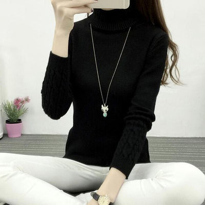 Women Long Sleeve Turtleneck Sweater Black / M - Women Sweaters | MegaMallExpress.com