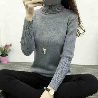 Women Long Sleeve Turtleneck Sweater Gray / M - Women Sweaters | MegaMallExpress.com