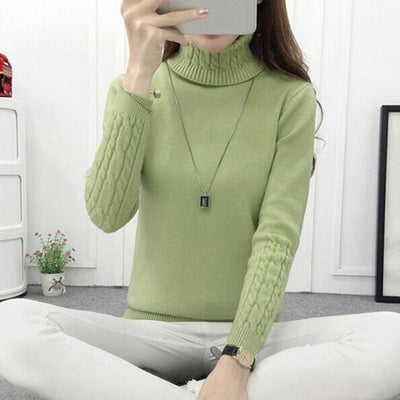 Women Long Sleeve Turtleneck Sweater Army Green / M - Women Sweaters | MegaMallExpress.com