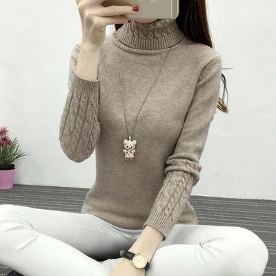 Women Long Sleeve Turtleneck Sweater Khaki / M - Women Sweaters | MegaMallExpress.com