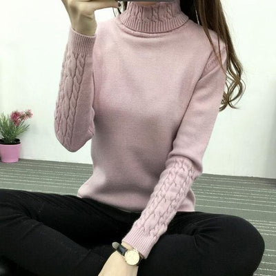 Women Long Sleeve Turtleneck Sweater Pink / M - Women Sweaters | MegaMallExpress.com