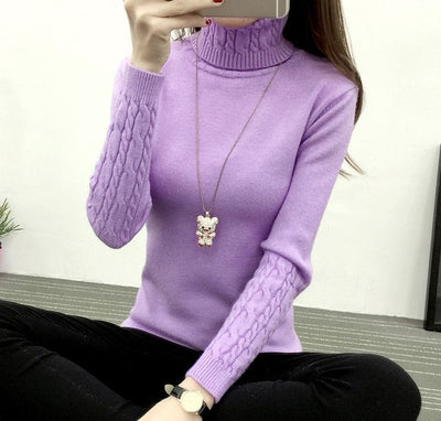 Women Long Sleeve Turtleneck Sweater Lavender / M - Women Sweaters | MegaMallExpress.com