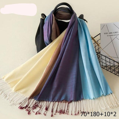 Elegant Cotton Tassel Scarves Multi 17 / 70 x 180 cm - Women Socks & More | MegaMallExpress.com