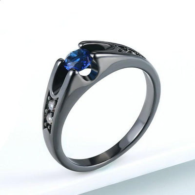 Austrian Crystal Wedding Ring 9 / BlackGold Blue - Wedding & Engagement | MegaMallExpress.com