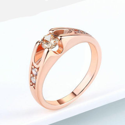 Austrian Crystal Wedding Ring 9 / RoseGold Yellow - Wedding & Engagement | MegaMallExpress.com
