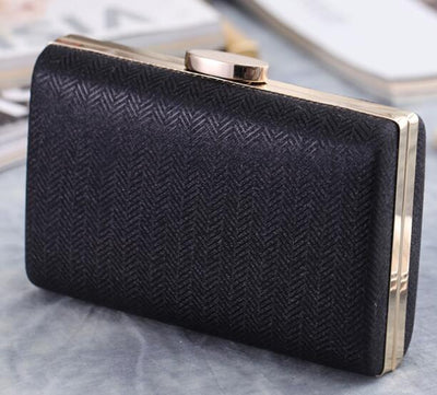 Women's Herringbone Pattern Evening Party Handbags Black Evening Bags / 17 x 4 x 12 cm - Women Handbags & Purses | MegaMallExpress.com