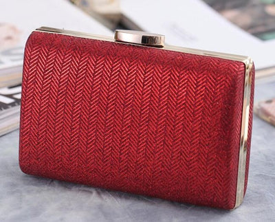 Women's Herringbone Pattern Evening Party Handbags Red Evening Bags / 17 x 4 x 12 cm - Women Handbags & Purses | MegaMallExpress.com