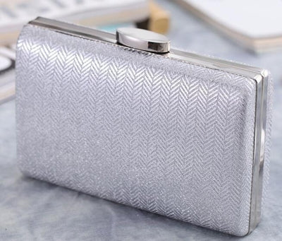 Women's Herringbone Pattern Evening Party Handbags Silver Evening Bags / 17 x 4 x 12 cm - Women Handbags & Purses | MegaMallExpress.com