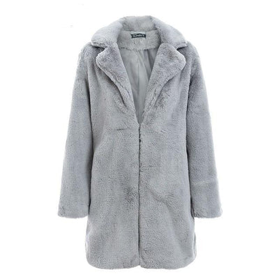 Women Faux Fur Coat Gray / L - Women Jackets & Coats | MegaMallExpress.com