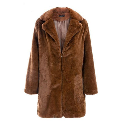 Women Faux Fur Coat Camel / L - Women Jackets & Coats | MegaMallExpress.com