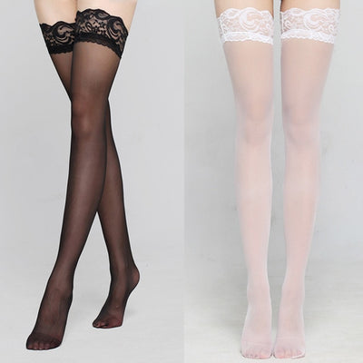Women's Lace Pantyhose Black and White / OSFA - Women Socks & More | MegaMallExpress.com