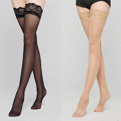 Women's Lace Pantyhose Black and Khaki / OSFA - Women Socks & More | MegaMallExpress.com