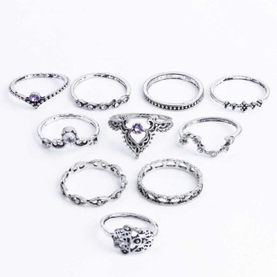 Bohemian Hollow Ring Set Silver - Casual Rings | MegaMallExpress.com