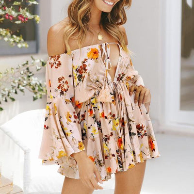 Women Off The Shoulder Lace Up Romper With Sleeves Beige / L - Women Rompers & Jumpsuits | MegaMallExpress.com